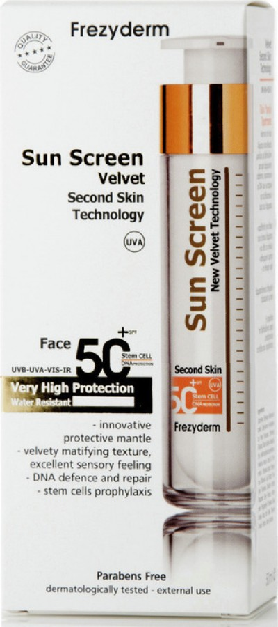FREZYDERM SUN SCREEN VELVET FACE CREAM 50+ 50ml