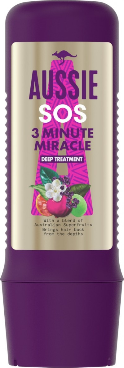 AUSSIE SOS 3 MINUTE MIRACLE DEEP TREATMENT 225ML
