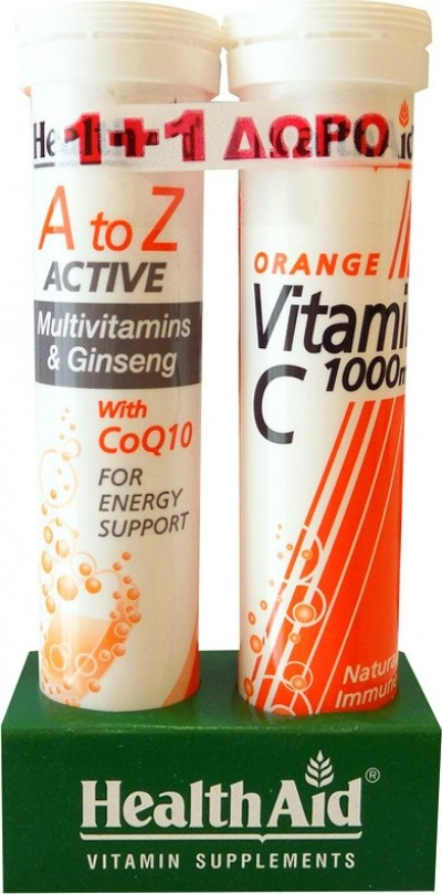 HEALTH AID A TO Z ACTIVE MULTIVITAMINS & GINSENG WITH Q10 20 ΑΝΑΒΡΑΖΟΝΤΑ ΔΙΣΚΙΑ & ΔΩΡΟ VITAMIN C 1000mg ΠΟΡΤΟΚΑΛΙ 20 ΑΝΑΒΡΑΖΟΝΤΑ ΔΙΣΚΙΑ