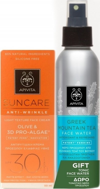 APIVITA SUNCARE FACE CREAM ANTI-WRINKLE SPF30 50ML+TONIC FACE WATER 100M