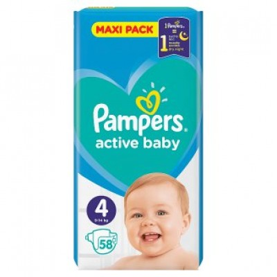 PAMPERS ACTIVE BABY MAXI PACK Νο 4 (9-14kg) ΒΡΕΦΙΚΕΣ ΠΑΝΕΣ 58 ΤΜΧ.