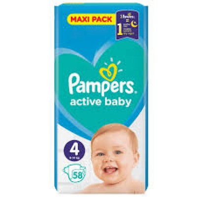 PAMPERS ACTIVE BABY MAXI PACK Νο 4 (9-14kg) ΒΡΕΦΙΚΕΣ ΠΑΝΕΣ 58 ΤΜΧ.1+1 ΔΩΡΟ
