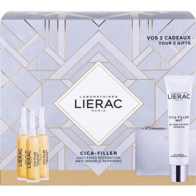 LIERAC - PROMO PACK CICA FILLER SERUM ANTI RIDES REPARATEUR (3x10ml) ΜΕ ΔΩΡΟ MAT GEL-CREME ANTI RIDES REPARATRICE (40ml) & ΚΟΜΨΟ ΠΟΡΤΟΦΟΛΙ