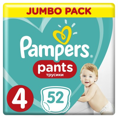 PAMPERS PANTS JUMBO PACK ΜΕΓΕΘΟΣ 4 (9-15kg) - 52 ΤΜΧ