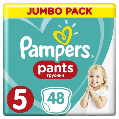 PAMPERS PANTS JUMBO PACK ΜΕΓΕΘΟΣ 5 (12-17 kg) - 48 ΤΜΧ
