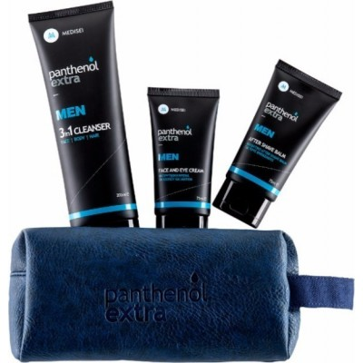 PANTHENOL EXTRA MEN GIFT FOR HIM Face & Eye Cream (75ml) & After Shave Balm (75ml) & 3in1 Cleanser Face Body Hair (200ml)