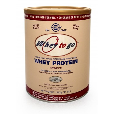 SOLGAR - WHEY PROTEIN POWDER NATURAL CHOCOLATE COCOA FLAVOUR - 1162GR