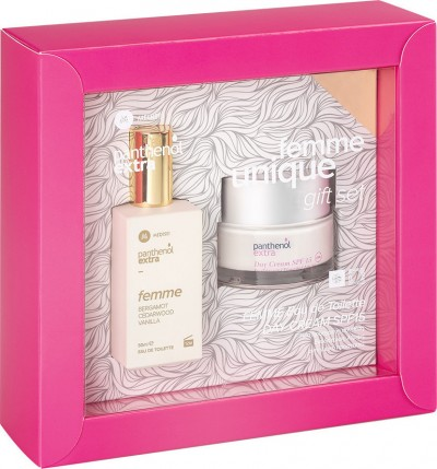 PANTHENOL EXTRA SET FEMME UNIQUE DAY CREAM SPF15 50ml + FEMME EAU DE TOILETTE 50ml