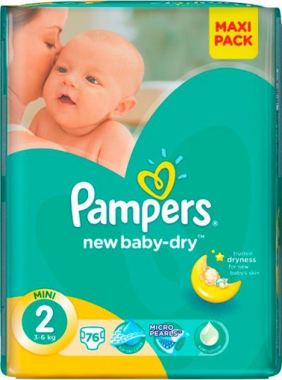 Pampers Active Baby Dry Mini no2 (3-6 kg) 76 Πανες.