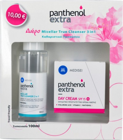 PANTHENOL EXTRA DAY CREAM SPF15 50ML+ ΔΩΡΟ MICELLAR TRUE CLEANSER 3IN1 100ML