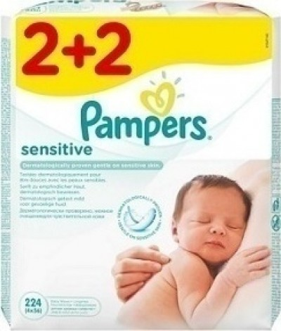 PAMPERS SENSITIVE WIPES ΜΩΡΟΜΑΝΤΗΛΑ PROMO PACK 2+2 4x56 ΤΜΧ
