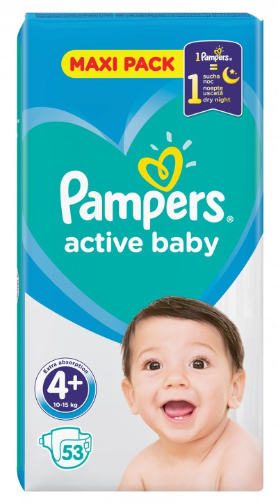 PAMPERS ACTIVE BABY ΠΑΝΕΣ MAXI PACK ΜΕΓΕΘΟΣ 4+ (10-15kg), 53 ΤΜΧ