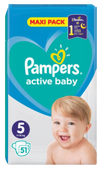 PAMPERS ACTIVE BABY ΠΑΝΕΣ MAXI PACK ΜΕΓΕΘΟΣ 5 (11-16 kg), 51 ΤΜΧ