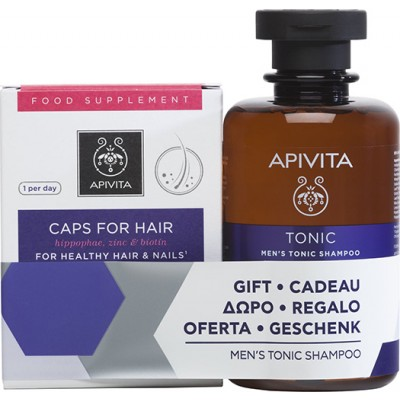 APIVITA OLISTIC HAIR CARE ΣΥΜΠΛΗΡΩΜΑ ΔΙΑΤΡΟΦΗΣ 30CAPS & MEN'S TONIC SHAMPOO 250ML