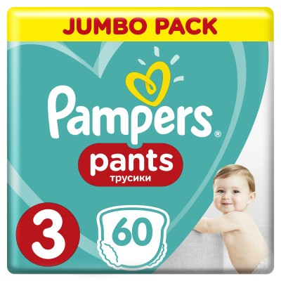 PAMPERS PANTS JUMBO PACK ΜΕΓΕΘΟΣ 3 (6-11 kg) - 60 ΤΜΧ