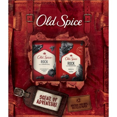 Old Spice XMAS GIFT PACK Rock Charcoal Shower Gel + Shampoo 250ml & Rock Deodorant Stick 50ml