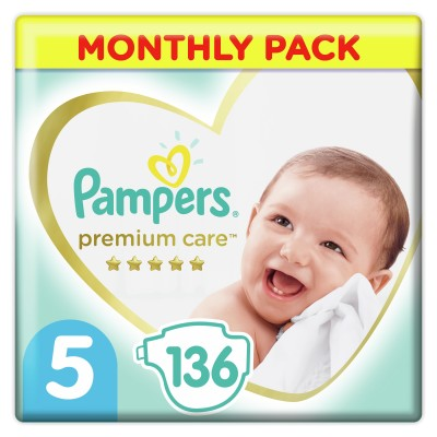 PAMPERS PREMIUM CARE MONTHLY PACK ΜΕΓΕΘΟΣ 5 (11-16 KG) - 136 ΤΜΧ