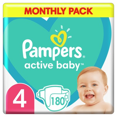 PAMPERS ACTIVE BABY  μέγεθος 4  1X180τμχ   Monthly Pack