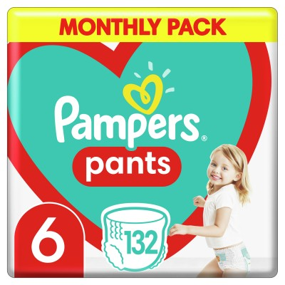 PAMPERS PANTS MONTHLY ΜΕΓΕΘΟΣ 6 (15+ kg) – 132τμχ ΠΑΝΕΣ-ΒΡΑΚΑΚΙ