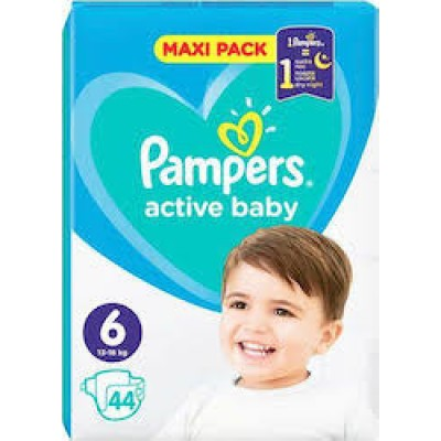 PAMPERS ACTIVE BABY MAXI PACK  PROMO PACK NO6  (13-18kg) ΒΡΕΦΙΚΕΣ ΠΑΝΕΣ 44 ΤΜΧ.1+1 ΔΩΡΟ