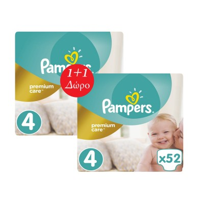 PAMPERS PREMIUM CARE No4 1+1 Δώρο (9-14) kg 2x52τμχ