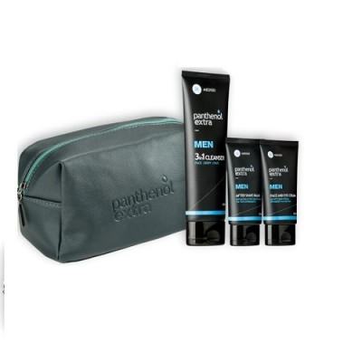 PANTHENOL EXTRA MEN GIFT FOR HIM FACE & EYE CREAM 75ml, AFTER SHAVE BALM 75ml & 3 IN 1 CLEANSER FACE BODY HAIR 200ml